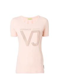 Camiseta con cuello circular con adornos rosada de Versace Jeans
