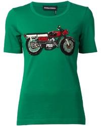 Camiseta con cuello circular con adornos verde de Sonia Rykiel
