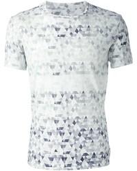 Camiseta con cuello circular con estampado geométrico blanca de Paul Smith