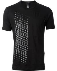 Camiseta con cuello circular con estampado geométrico en negro y blanco