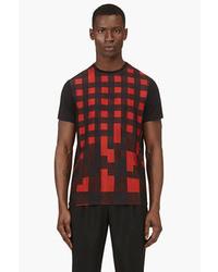 Camiseta con cuello circular con estampado geométrico roja