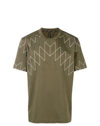 Camiseta con cuello circular con estampado geométrico verde oliva de Neil Barrett