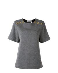 Camiseta con cuello circular con ojete gris de Chloé