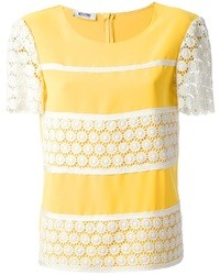Camiseta con cuello circular con print de flores amarilla de Moschino Cheap & Chic