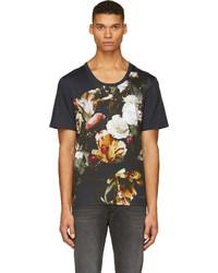 Camiseta con cuello circular con print de flores azul marino