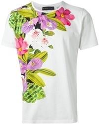 Camiseta con cuello circular con print de flores blanca de Etro