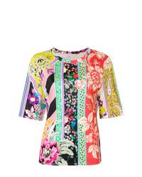 Camiseta con cuello circular con print de flores en multicolor de Etro