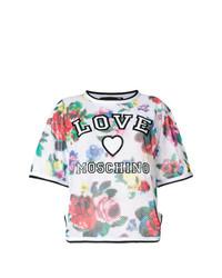 Camiseta con cuello circular con print de flores en multicolor de Love Moschino