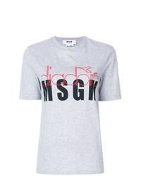 Camiseta con cuello circular con print de flores gris