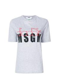 Camiseta con cuello circular con print de flores gris de MSGM