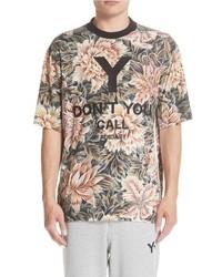 Camiseta con cuello circular con print de flores marrón claro