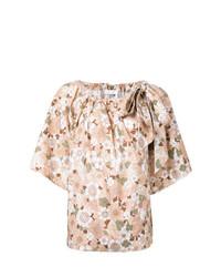Camiseta con cuello circular con print de flores rosada de Chloé