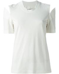 Camiseta con cuello circular con recorte blanca