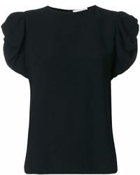Camiseta con cuello circular con volante negra