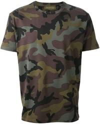 Camiseta con cuello circular de camuflaje verde oliva