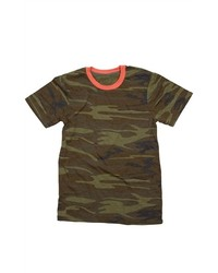 Camiseta con cuello circular de camuflaje verde oscuro