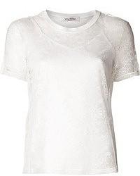 Camiseta con cuello circular de encaje blanca