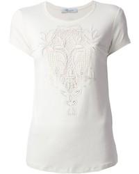 Camiseta con cuello circular de encaje blanca de Blumarine