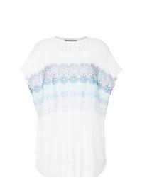 Camiseta con cuello circular de encaje blanca de Ermanno Ermanno