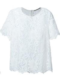 Camiseta con cuello circular de encaje blanca de Ermanno Scervino