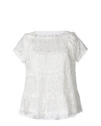 Camiseta con cuello circular de encaje blanca de Sacai