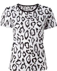 Camiseta con cuello circular de leopardo blanca