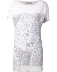 Camiseta con cuello circular de leopardo blanca de Stella McCartney