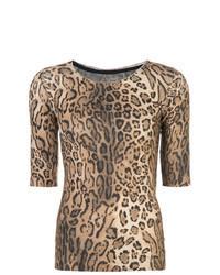 Camiseta con cuello circular de leopardo marrón claro