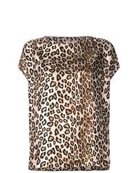 Camiseta con cuello circular de leopardo marrón claro de Alberto Biani