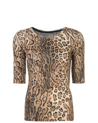 Camiseta con cuello circular de leopardo marrón claro de Marc Cain