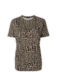 Camiseta con cuello circular de leopardo marrón de Etro