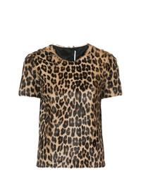 Camiseta con cuello circular de leopardo marrón de Rosetta Getty