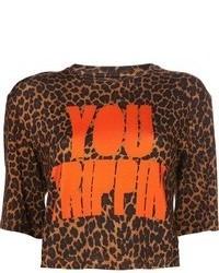 Camiseta con cuello circular de leopardo naranja de House of Holland