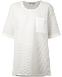 Camiseta con cuello circular de malla blanca de Acne Studios