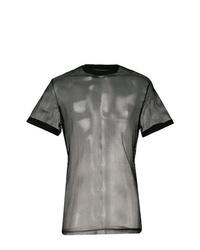 Camiseta con cuello circular de malla negra de DSQUARED2