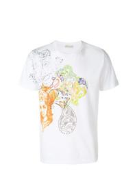 Camiseta con cuello circular de paisley blanca de Etro