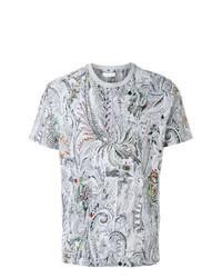 Camiseta con cuello circular de paisley gris