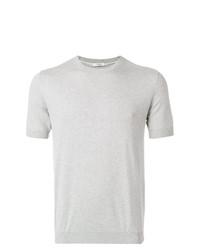 Camiseta con cuello circular de punto gris de Paolo Pecora