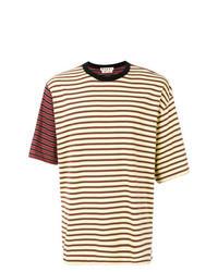 Camiseta con cuello circular de rayas horizontales amarilla