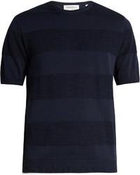 Camiseta con cuello circular de rayas horizontales azul marino