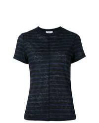 Camiseta con cuello circular de rayas horizontales azul marino de Frame Denim