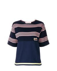 Camiseta con cuello circular de rayas horizontales azul marino de Marni