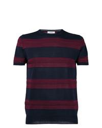 Camiseta con cuello circular de rayas horizontales azul marino de Paolo Pecora