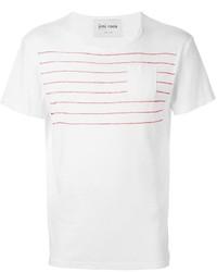 Camiseta con cuello circular de rayas horizontales blanca