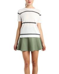 Camiseta con Cuello Circular de Rayas Horizontales Blanca de A.L.C.