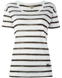 Camiseta con cuello circular de rayas horizontales blanca de Burberry