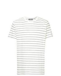 Camiseta con cuello circular de rayas horizontales blanca de Jac+ Jack