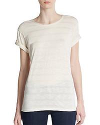 Camiseta con Cuello Circular de Rayas Horizontales Blanca de Vince