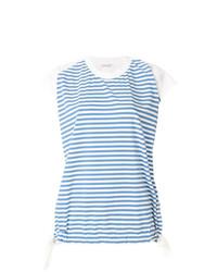 Camiseta con cuello circular de rayas horizontales celeste de Moncler