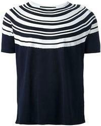 Camiseta con cuello circular de rayas horizontales en azul marino y blanco de Neil Barrett